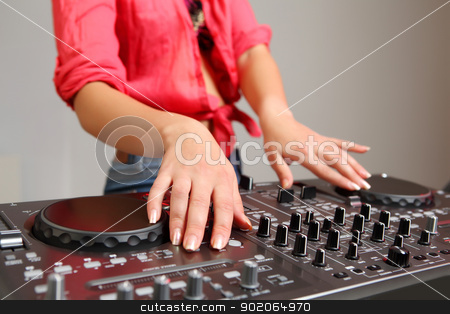 dj mixer stock photo, Dj mixer equipment to control sound and play music by Sergey Nivens