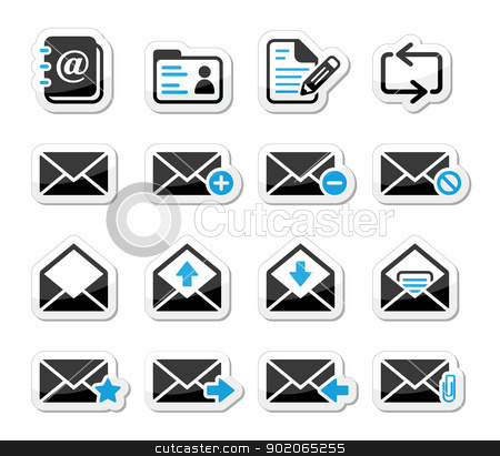 Email mailbox vector icons set as labels stock vector clipart, Mail web icons set as black and blue stickers  by Agnieszka Murphy