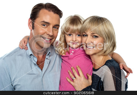 Stylish little daughter embracing her parents stock photo, Stylish little daughter embracing her parents. All facing camera and smiling. by Ishay Botbol