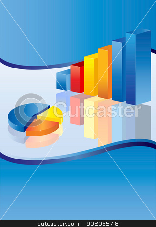 Blue Business Chart stock vector clipart, 3d financial graph stat business background by monicaodo