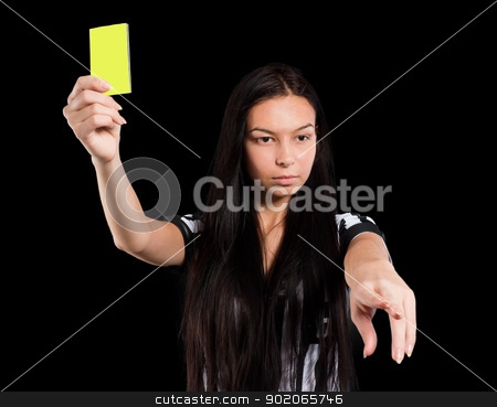Sexy Soccer Referee with yellow card stock photo, Beautiful Soccer Referee shows yellow card. Isolated on black by Aikon