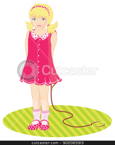 Child in pink dress stock vector clipart, Vector illustration of Child in pink dress by SonneOn