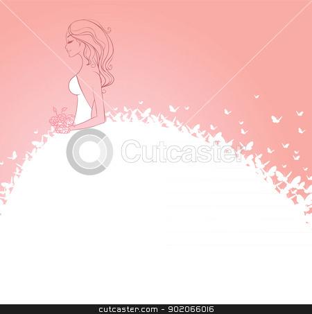 Bride in white dress stock vector clipart, Vector illustration of Bride in white dress by SonneOn