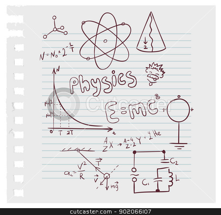 Physics set stock vector clipart, Vector illustration of Physics set by SonneOn