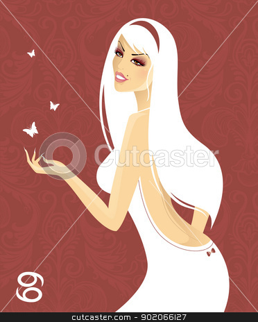 Beautiful girl in white dress - zodiac signs stock vector clipart, Vector illustration of Beautiful girl in white dress - zodiac signs by SonneOn