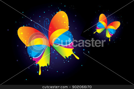 Butterfly on a black background stock vector clipart, Vector illustration of Butterfly on a black background by SonneOn