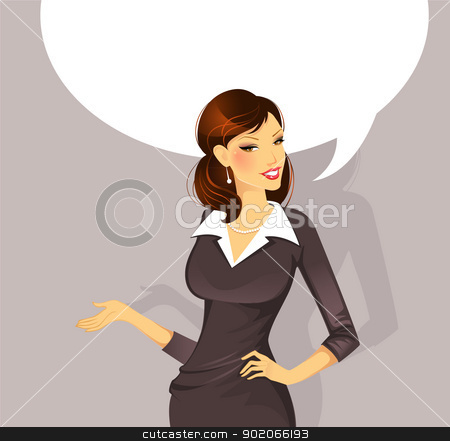 Businesswoman speaking stock vector clipart, Vector illustration of Businesswoman speaking by SonneOn