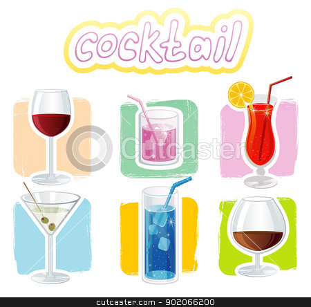 Cocktails icons stock vector clipart, Vector illustration of Cocktails icons by SonneOn