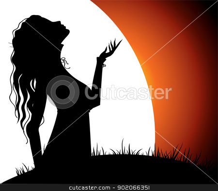 Woman's silhouette stock vector clipart, Vector illustration of Woman's silhouette by SonneOn