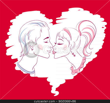 Kissing in love stock vector clipart, Vector illustration of Kissing in love by SonneOn