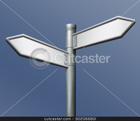blank roadsign stock photo, roadsign with two arrows and blank copy space by Dirk Ercken