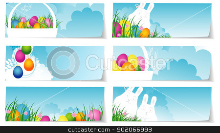 Stickers set easter stock vector clipart, Vector illustration of Stickers set easter by SonneOn
