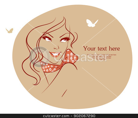 Beauty woman with butterfly stock vector clipart, Beauty woman with butterfly by SonneOn