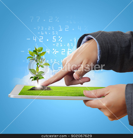technology for ecology protection stock photo, Modern green technology for ecology protection illustration by Sergey Nivens