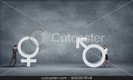 Gender heart stock photo, Illustration with symbol of love and different genders symbols by Sergey Nivens