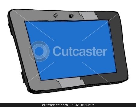 computer tablet stock vector clipart, hand drawn illustration of an computer tablet by Oleksandr Kovalenko