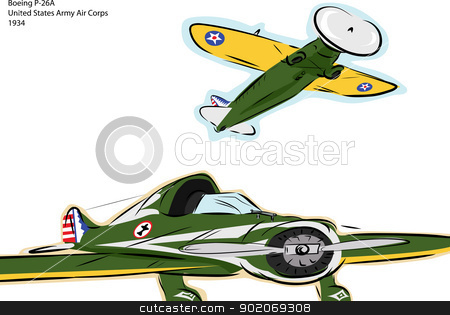 Boeing P-26A Fighter Plane stock vector clipart, Sketch of Boeing P-26A World War II fighter plane over white by Eric Basir