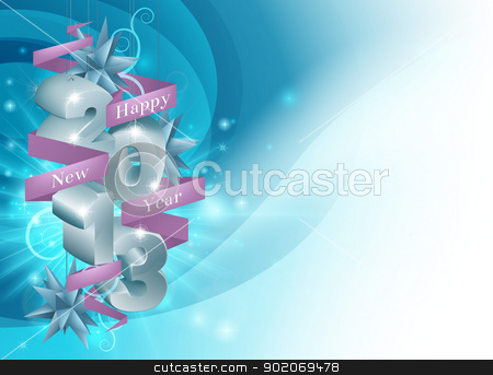 Blue Happy New Year Background stock vector clipart, A blue Happy New Year background illustration with decorations saying 2013, scroll reading Happy New Year and star shaped ornaments by Christos Georghiou