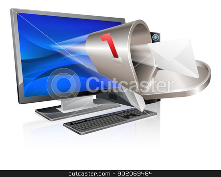 Computer email message concept stock vector clipart, Desktop computer with mailbox and letter envelope flying out of screen, computer email message concept by Christos Georghiou