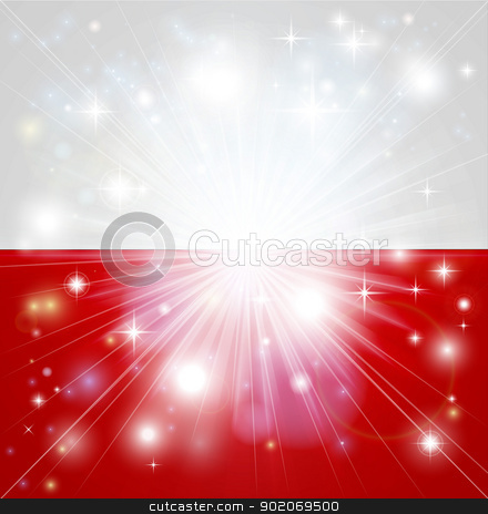 Polish flag background stock vector clipart, Flag of Poland background with pyrotechnic or light burst and copy space in the centre by Christos Georghiou