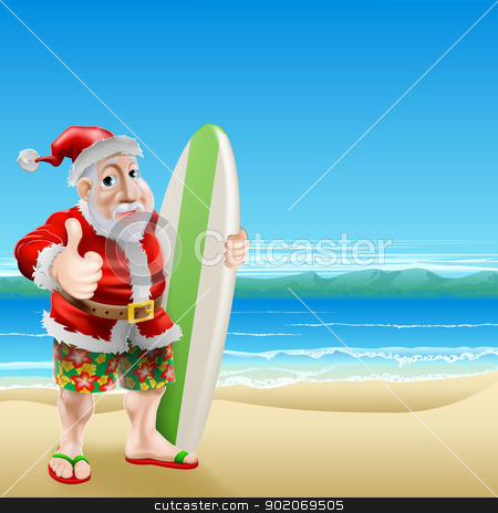 Santa on the beach stock vector clipart, An illustration of Santa Claus standing in shorts and sandals on a beach holding a surfboard and doing a thumbs up by Christos Georghiou