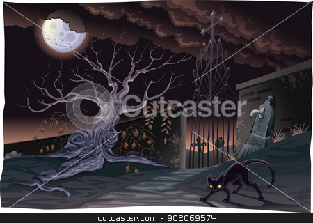 Black cat and cemetery in the night. stock vector clipart, Black cat and cemetery in the night. Horror Scene, vector isolated characters. by ddraw