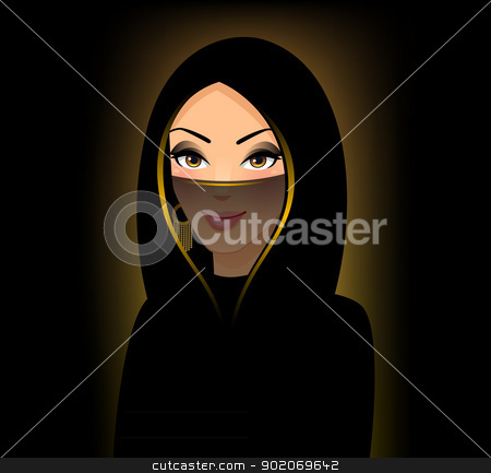 The girl of east type in a yashmak  stock vector clipart, Vector illustration of The girl of east type in a yashmak  by SonneOn