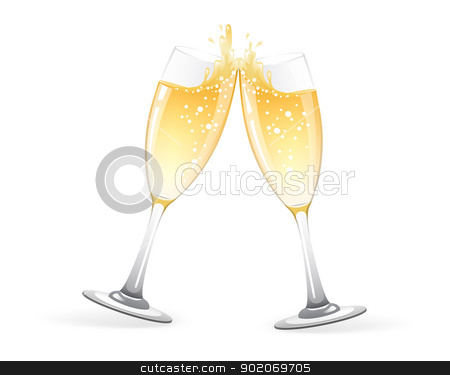 Glasses of champagne stock vector clipart, Vector illustration of  Two Glasses of champagne by SonneOn