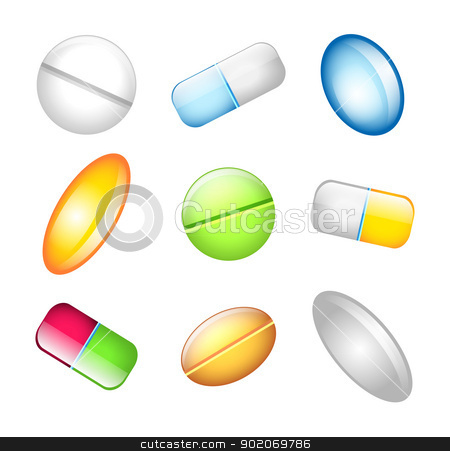 Icons tablets and pills  stock vector clipart, Vector illustration of Icons tablets and pills  by SonneOn