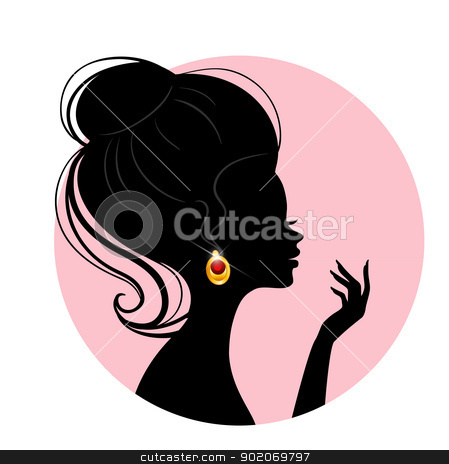 Beautiful silhouette woman stock vector clipart, Vector illustration of Beautiful silhouette woman by SonneOn