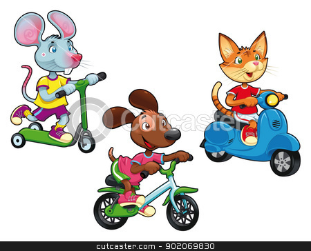 Animals on vehicles. stock vector clipart, Animals on vehicles. Funny cartoon and vector isolated characters. by ddraw