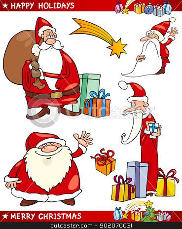 Santa and Christmas Themes Cartoon Set stock vector clipart, Cartoon Illustration of Santa Claus or Papa Noel, Presents, Star and other Christmas Themes set by Igor Zakowski