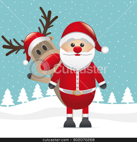 reindeer red nose santa claus wave stock vector clipart, reindeer red nose santa claus winter landscape by d3images