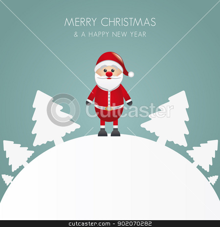 santa claus christmas white tree background stock vector clipart, santa claus christmas white tree background world by d3images