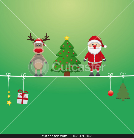santa reindeer tree twine green background stock vector clipart, santa reindeer tree on twine green background by d3images