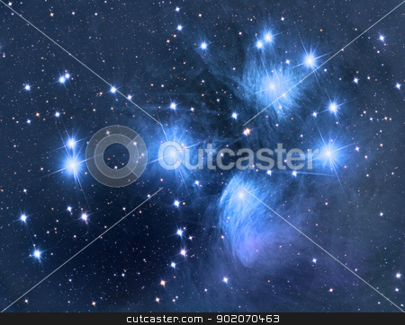 M45 Pleiades stock photo, M45 Pleiades open star cluster by Reinhold Wittich