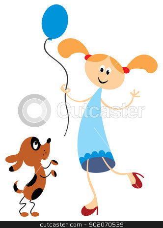 Playing with dog stock vector clipart, Illustration of cartoon girl with dog and balloon by Oxygen64