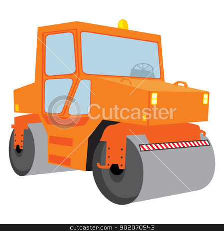 Roller machine stock vector clipart, Road roller machine isolated on white background by Oxygen64
