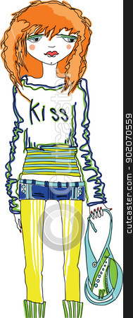teens stock vector clipart, Modern young girl, teenager. It is dissatisfied with something. by Natalia Konstantinova