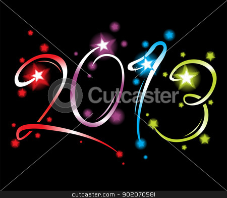 New Year 2013 stock vector clipart, Celebration of New Year 2013 created from fireworks by Oxygen64