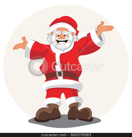 Santa Claus stock vector clipart, Happy Santa Claus with open arms by Oxygen64