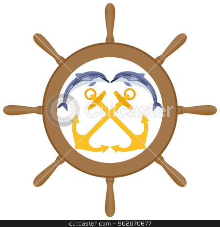 Wheel, anchor and dolphins stock photo, Abstract Marine icon. Two anchors and two dolphins against the wheel of a ship. Illustration on white background. by Sergey Skryl