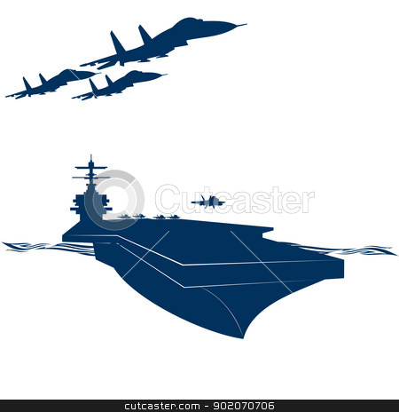 Army stock photo, Navy. Military aircraft taking off from an aircraft carrier. Illustration on white background. by Sergey Skryl