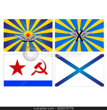 Flags of the Air Force and Navy of the USSR and Russia stock photo, Flags of the Air Force and Navy of the USSR and Russia. An illustration on a white background. by Sergey Skryl