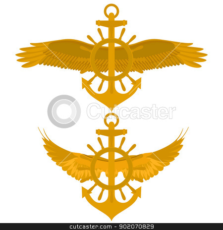 Maritime icon stock photo, Abstract Marine icon. Sea anchor and wheel with wings. Illustration on white background. by Sergey Skryl