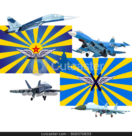Military and Air Forces of Russia stock photo, The modern military plane against flags of the USSR and Russia. An illustration on a white background. by Sergey Skryl