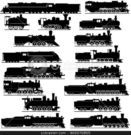 Old locomotives stock photo, Old railway. Black and white illustration of a white background. by Sergey Skryl