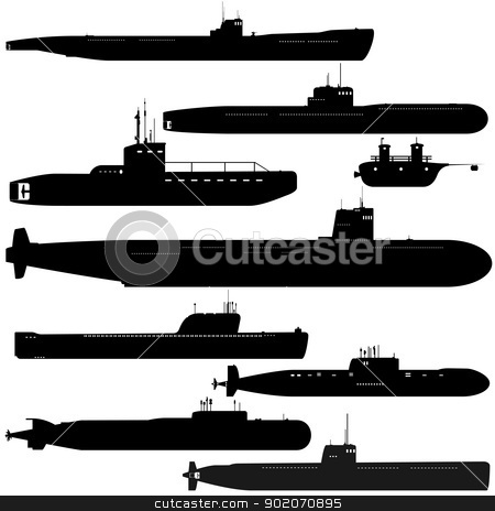 Submarines stock photo, Navy. A set of paths submarines. Black and white illustration of a white background. by Sergey Skryl