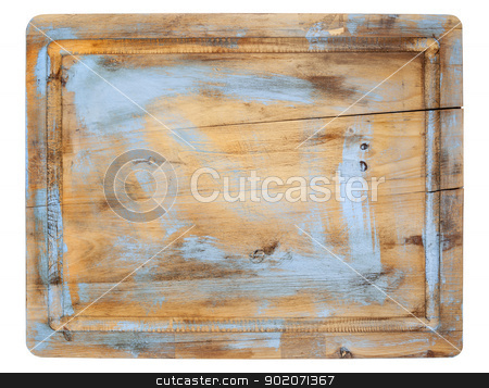 rustic cutting board stock photo, rustic cracked cutting board with grunge blue painting isolated on white by Marek Uliasz