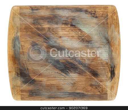 rustic grunge cutting board stock photo, rustic cutting board with grunge painting isolated on white by Marek Uliasz